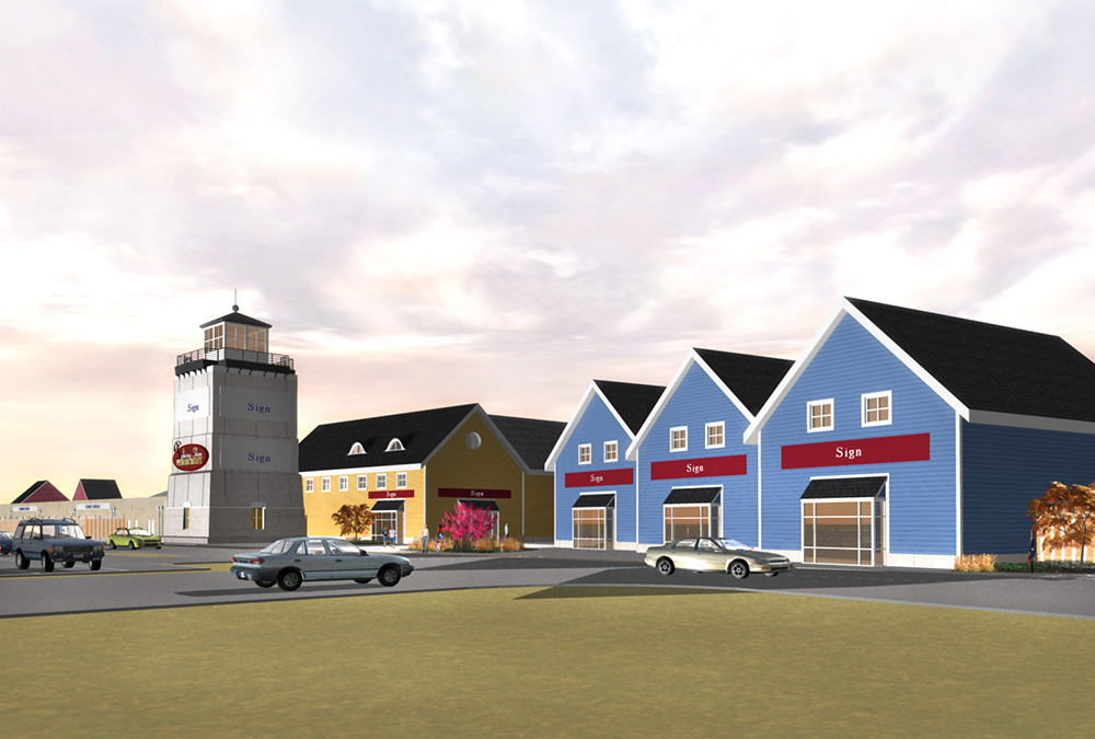 Jersey Shore Entry Tower and Retail Rendering