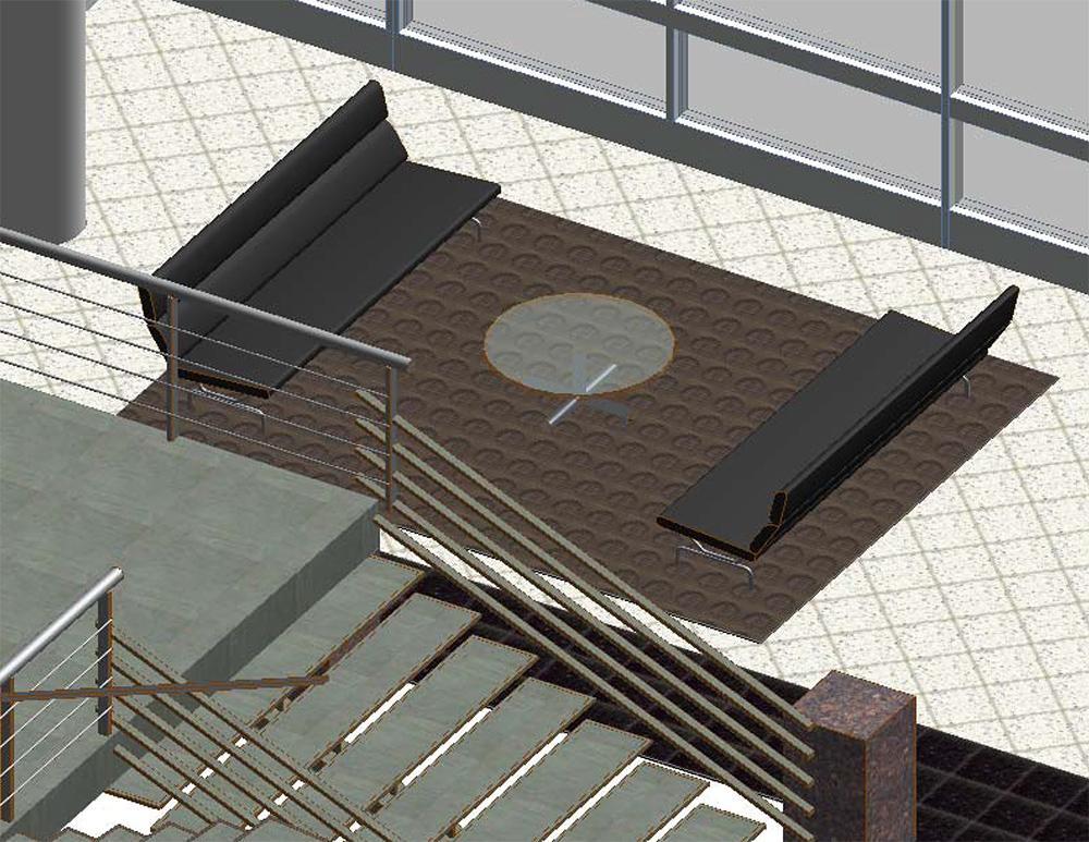 Ovens Auditorium Lobby Seating Interior Design View