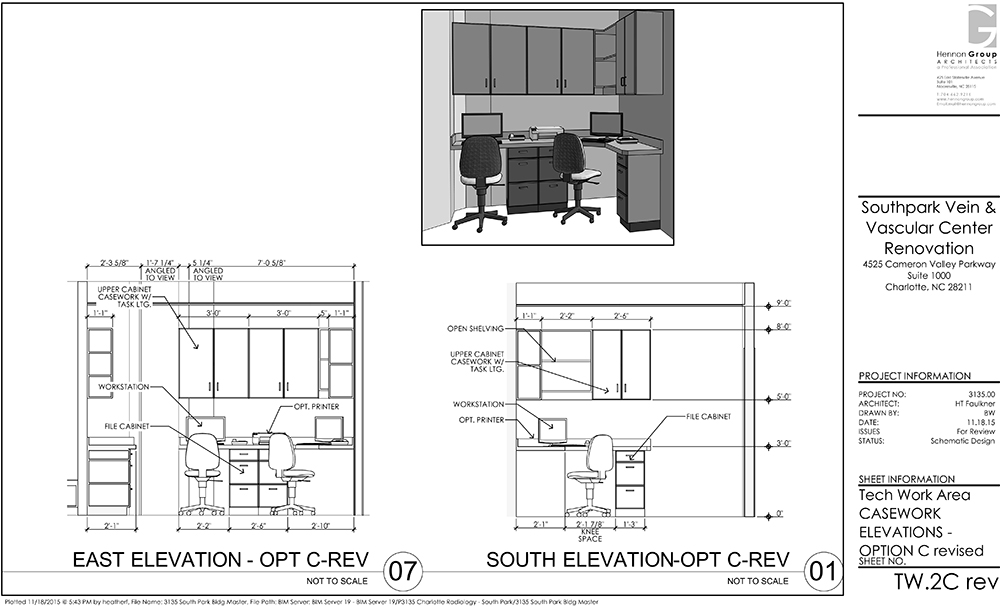 Medical Tech Work Area Casework Drawings 3D View