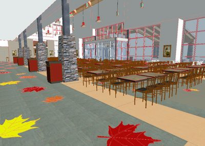 Merrimack Premium Outlets Food Court Interior Design 3D View