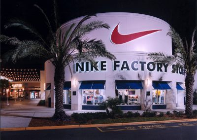 Orlando Premium Outlets Vineland Nike Entrance at Night