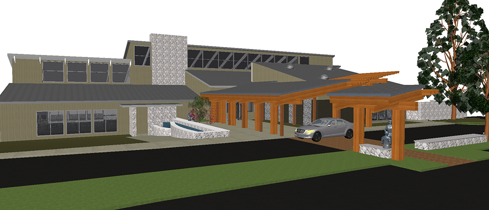 Country Club Entry Porte Cochere 3D View