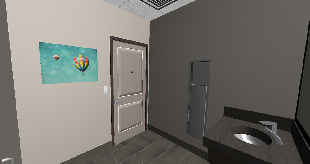 3D model view Patient Restroom Interior Design